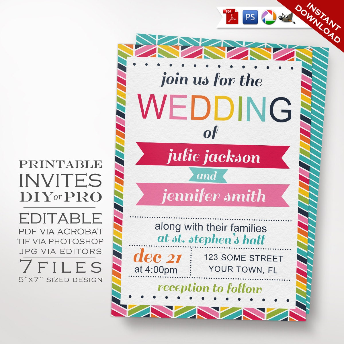 Wedding Invitation Template Same Sex Wedding Invitation
