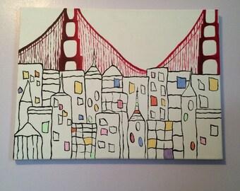 San Francisco Painting original- 24x18 inches