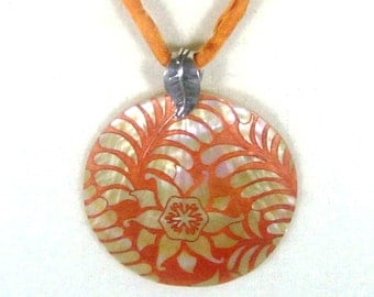 Polynesian Mother Of Pearl Round Shell Pendant on Matching Silk Cord in Burnt Orange
