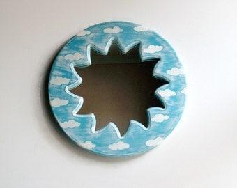 "Wall Mirror, 16"" Handmade Mirror, Sun Mirror, Sun and Clouds, Decorative Wall Mirror, Pastel Blue Mirror, Round Mirror, Reclaimed Mirror"