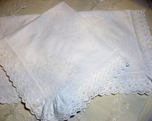 Antique bed linen 1900-1920 Broderie Anglaise layover pillow shams Victorian white cotton