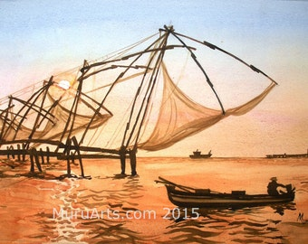 Fishing Nets, Kerala, India, Watercolor Painting, 30 cm x 51 cm