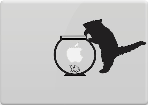 cat kitten fishbowl vinyl decal sticker skin for laptop apple. Black Bedroom Furniture Sets. Home Design Ideas