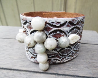 Brown Ivory Gray White Jade Beaded Feathers Cross Up-Cycled Leather Cuff Bracelet