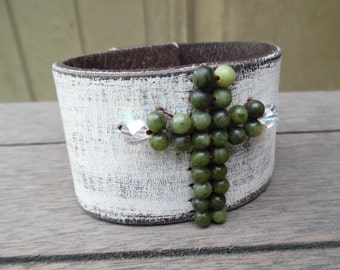 White Green Jade Crystal Beaded Cross Up-Cycled Distressed Leather Cuff Bracelet