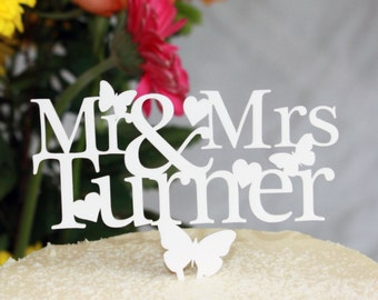 Wedding Cake Topper Personalised with Any Surname in white, mirror,black, silver or gold.