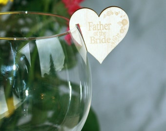 Wedding / Party Name Places for Wine Glasses in Wood