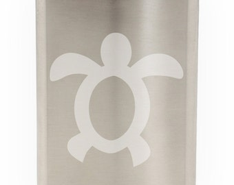 Cute Floating Turtle Etched Hip Flask 8oz