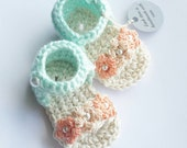 Crochet Infant Sandal in Ivory and Mint // With Flowers in Blush and Light Peach with Pearl Detail // Size Newborn-12 Months
