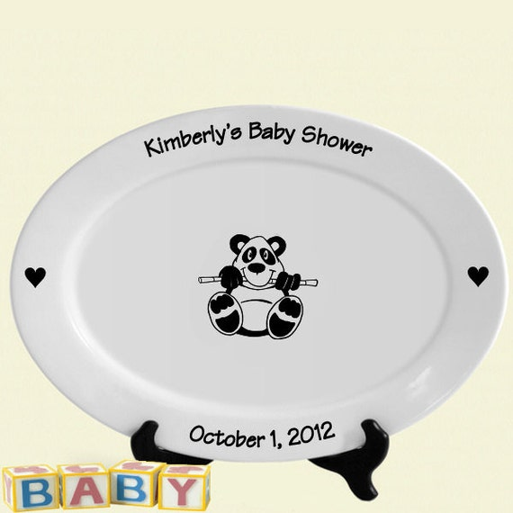Baby shower guest book signature platter baby panda bear choice of