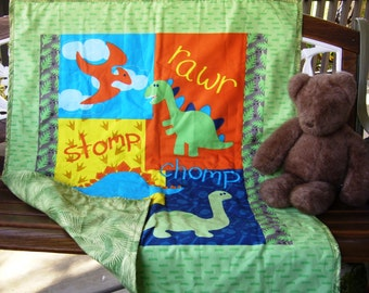 "Boys Cute Dinosaur Panel 36""Wx44""L Baby Crib Toddler Quilt Blanket Bedding Stroller Napping blanket *Perfect Gift *Ready To Ship"
