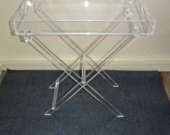 Clear Acrylic Lucite Set Of 2 Folding Snack Tv Trays With