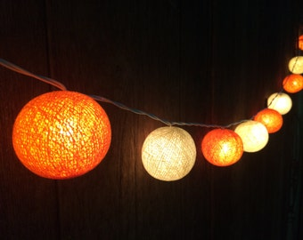 20 x Cream & Orange cotton ball string light for decor ,bedroom, wedding, party, garden,lamp,lantern