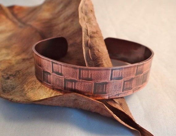 Handmade Copper Basket : Unisex metal cuff bracelet copper basket weave textured