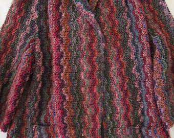 VIntage 1970's - Multi Colored textured Robe House Coat Sweater Cardigan