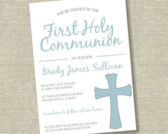 First communion invitation, communion invitation, 1st communion invitation, boy communion invitation, boy first communioin invitation