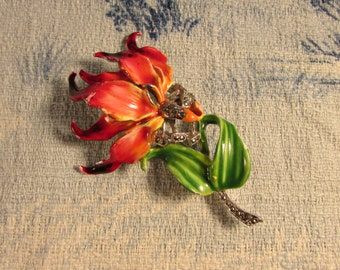 Vintage vibrant cold-painted lily-style flower with Marcasite detail