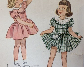 Simplicity 2529 girl's one-piece dress & panties size 1 or size 3 vintage 1940's sewing pattern