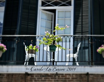 NEW ORLEANS PHOTOGRAPHY ~ A Table for Two ~ Streetscape ~ Balcony in the French Quarter
