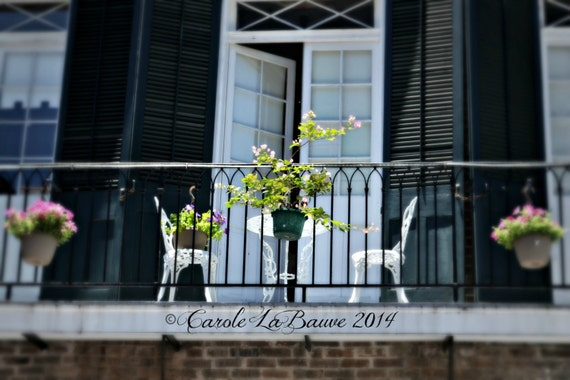 NEW ORLEANS PHOTOGRAPHY ~ Table for Two ~ Streetscape ~ Wrought Iron Balcony ~ French Quarter ~ Louisiana Fine Art Photography ~ Cajun Decor