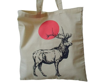 Baumwoltasche jute bag deer tote bag bag bag tote bag deer shopper hipster screen printing screen printing