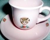 Vintage pink kitten teacup and saucer Hallmark Made in Japan