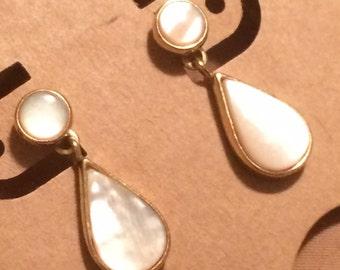 Mother of Pearl Dangling Golden Teardrop Pierced Earrings