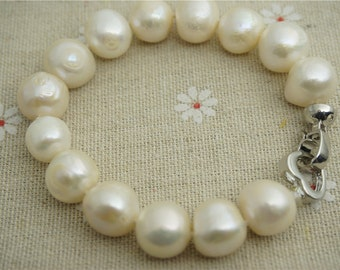 Large Pearl Bracelet,11mm size Pearl, Wedding Necklace, birthday, Love, Mothers Day,Happiness,gift box,Big Pearl Bracelet,B1-010