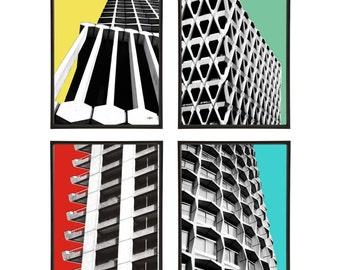 Brutalist Architecture Group of 4 Pop Art Prints Modernist Modernism Brutalism London Buildings 1960s
