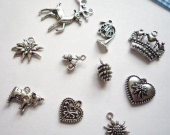 pendants, mixed, metal, antique-silver-colour, bavaria, oktoberfest