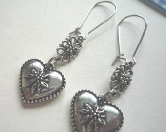 Costume earrings antique silver heart