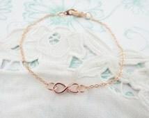 Bracelet Infinity rosegold Eternity Bridesmaid gift