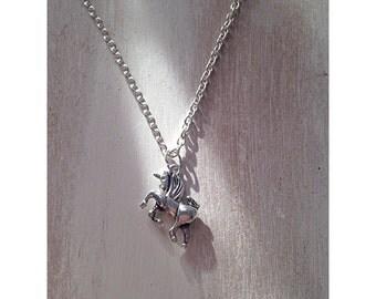 Silver unicorn chain necklace