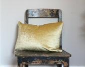 Lite Gold Velvet Pillow Cover, All Sizes vintage style gold velvet cushion cover, gold velvet throw pillow decor, distressed velvet, lumber