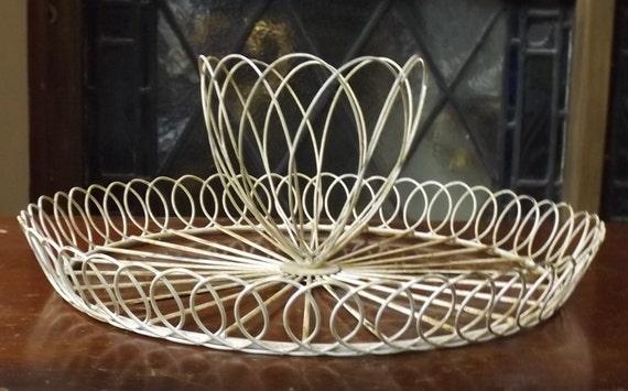 White wire basket with center display wedding storage card