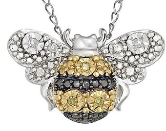 Yellow & White Diamond Bumble Bee Pendant