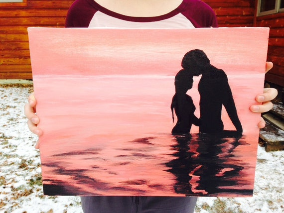Couple Silhouette Sunset Painting Silhouette Sunset Couple 14x18