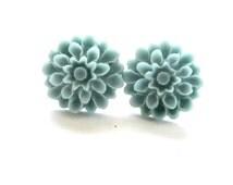 BOGO Sale - BUY 2 GET 1 Blue Earrings  - Dahlia Studs - 17mm Cyan Blue Flower Studs - Resin Hypoallergenic Earrings