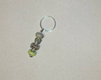 Key ring-mixed brown and white beads with silver rose bead
