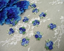 Tiny Flower Appliques One Dozen Blue Rose Blossoms for Dress Trim Crafts Altered Art Scrapbook Supply