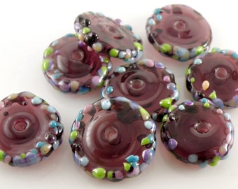 Amethyst Treasures Discs SRA Lampwork Handmade Artisan Glass Disc Beads Made to Order Set of 8 5x20mm