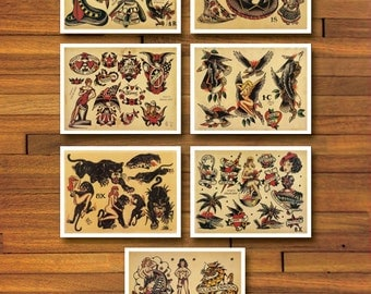 Sailor Jerry Old School 7 Page Tattoo Flash Set