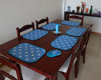 Six Hand Quilted Placemats with matching Coasters