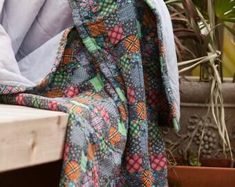 Vintage Sleeping Bag • 1970's Patchwork Print Sleeping Bag • Snuggie Sleep Sac • Vintage Snug Sac • Heritage Quilts
