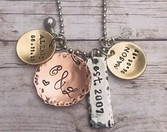 Mixed Metals Mother's Necklace - Children's names - Marraige Anniversary Date - Birthdates - Personalized -Cluster Necklace