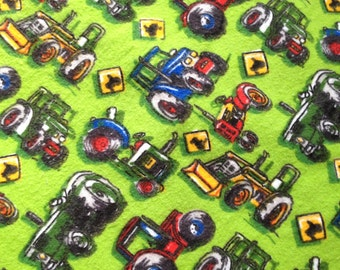 Baby Crib Sheet or Toddler Bed Sheet - Flannel - with Tractors