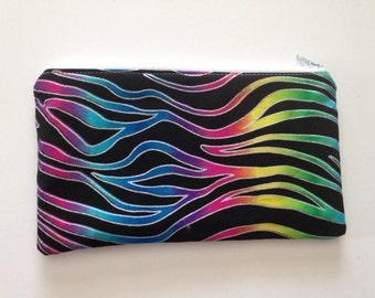 Rainbow zebra zippered pouch