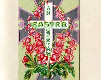 Vintage Bleeding Hearts Easter Postcard White Silver Pink Cross Embossed Flowers Used Edward Nash to Cairo New York ~ 2437f