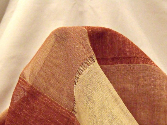 """terracotta checked voile fabric remnant, home decor fabric, craft fabric, window dressing, 54"""" x 44"""","""