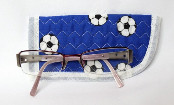 childs glasses case, quilted spectacle holder, sunglasses cover, eyeglasses case, quilted glasses protector, glasses holder, football fabric